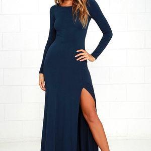 NEW Lulu's // Swept Away Navy Long Sleeve Dress